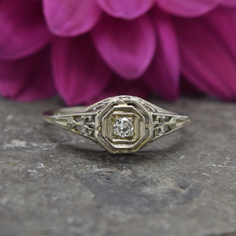 18k White Gold Antique Art Deco Filigree Diamond Ring Size 8