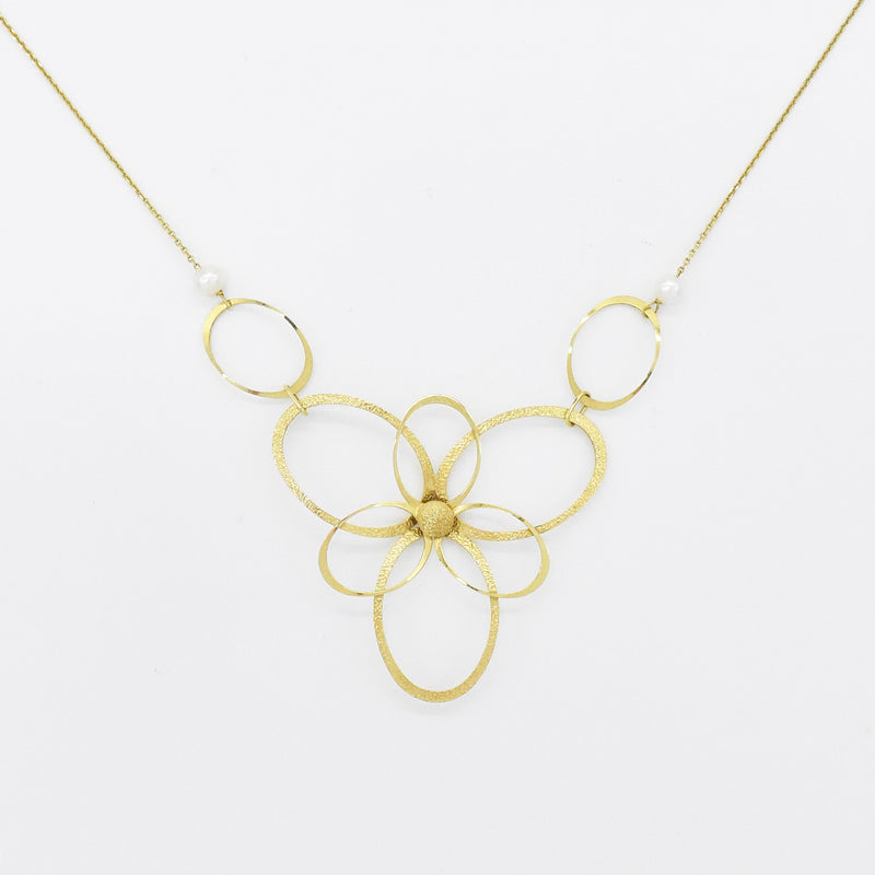 "14k Yellow Gold 18"" Open Oval Double Layered Flower & Pearl Necklace"