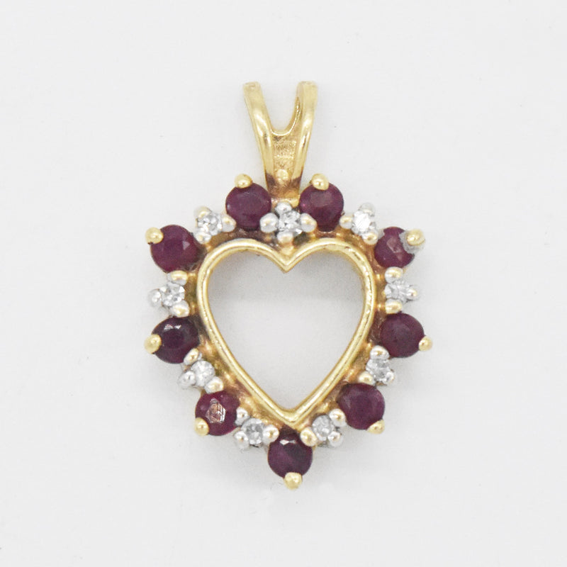 14k Yellow Gold Estate Ruby & Diamond Open Heart Pendant