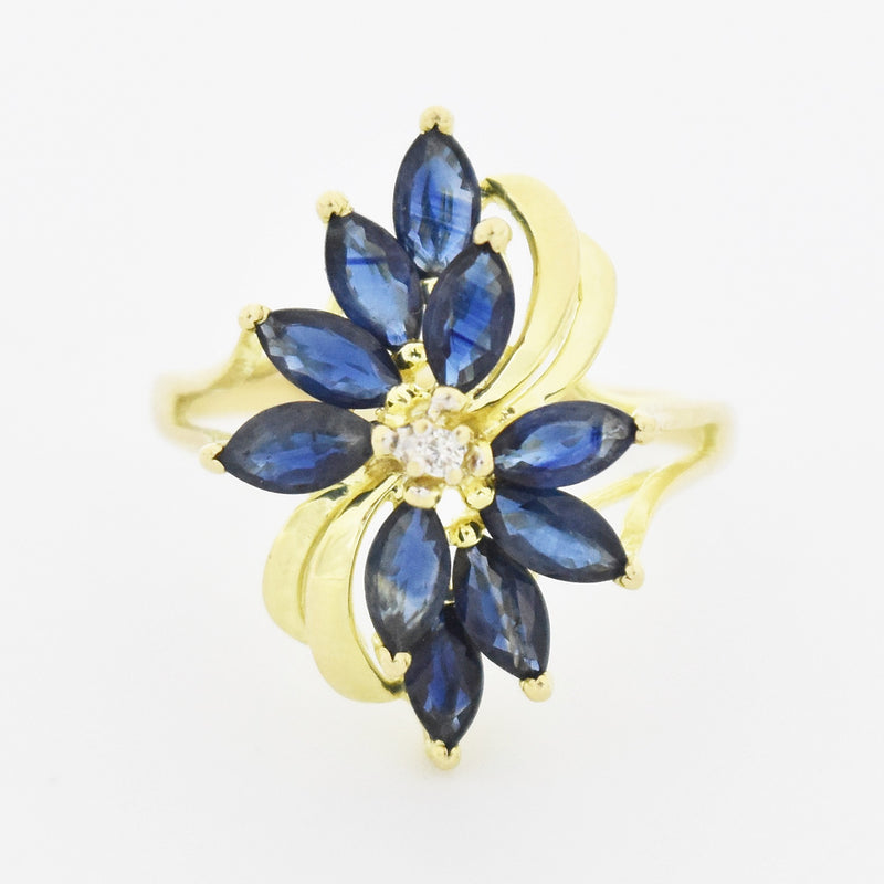 14k Yellow Gold Estate Sapphire & Diamond Flower Ring Size 7