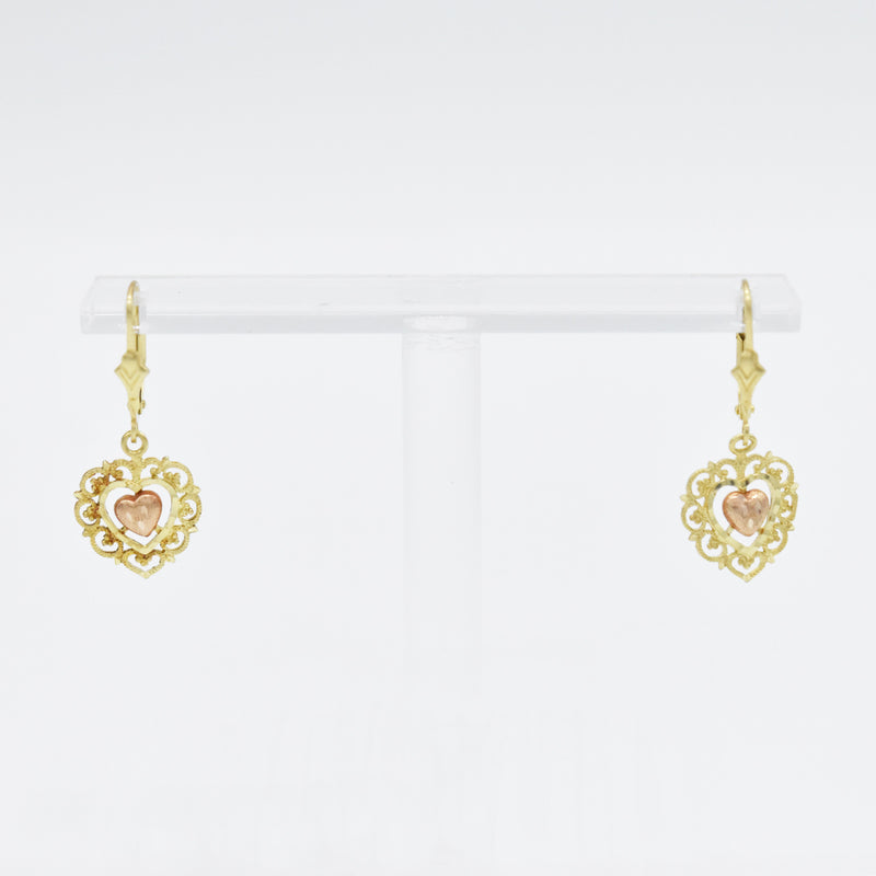 14k Yellow & Rose Gold Filigree Diamond Cut Heart Leverback Earrings