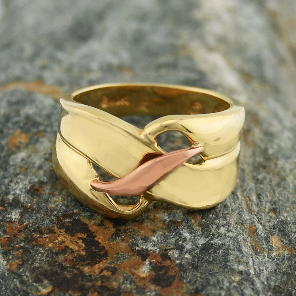 10k Yellow & Rose Gold Open Double Wrap Ring Size 6.75