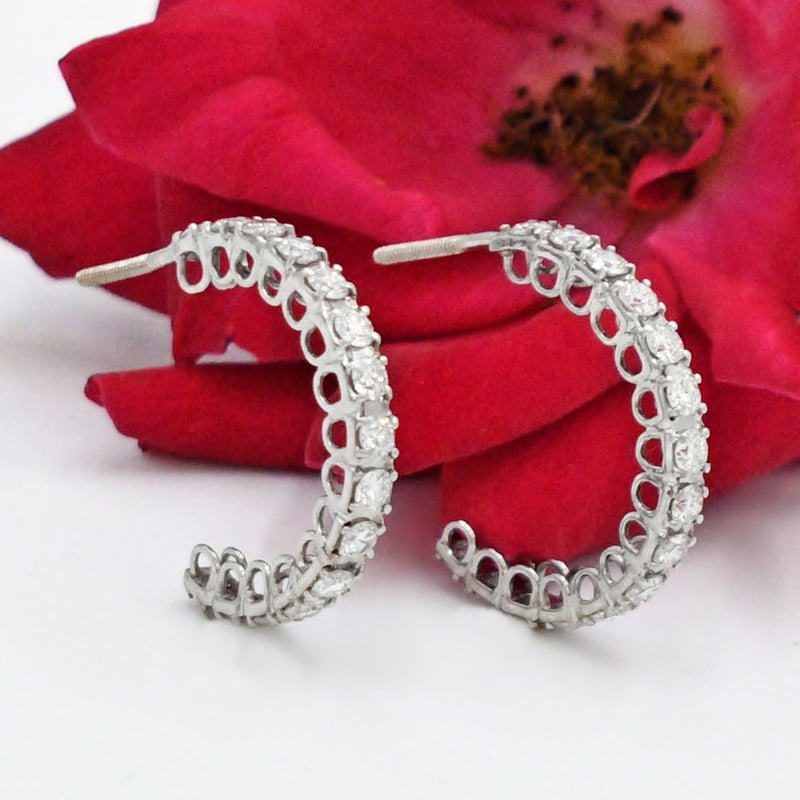 "14k White Gold Estate 3/4"" Diamond 1.50 tcw Half Hoops/Hoop Earrings"