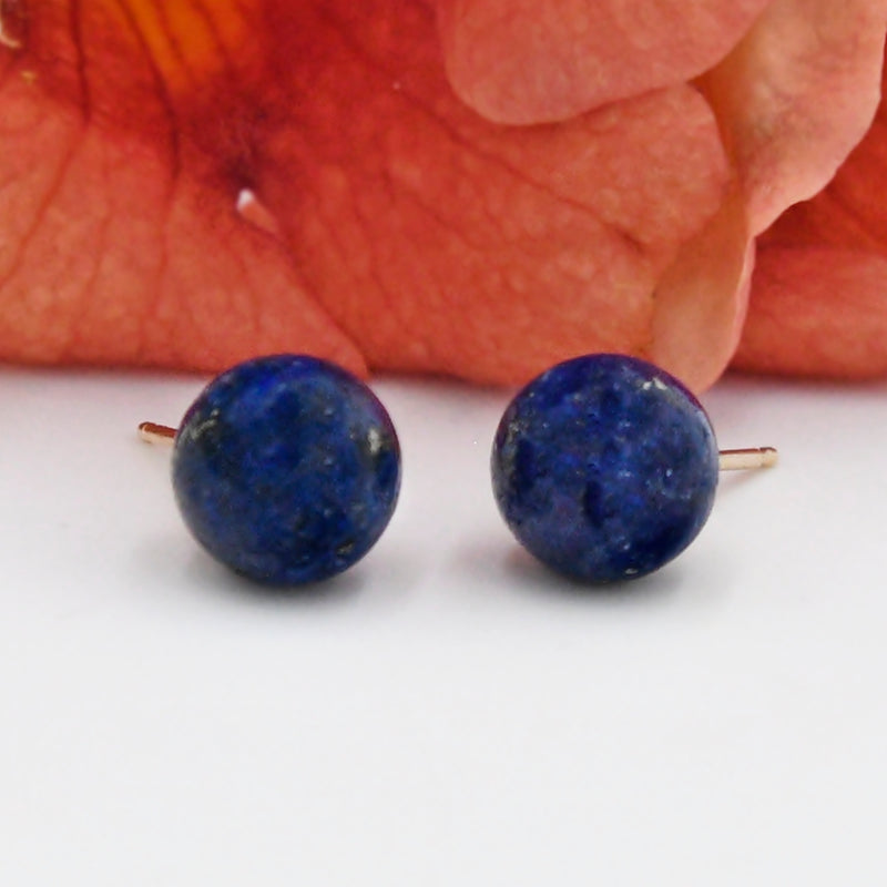 14k Yellow Gold Estate Lapis Gemstone Ball Post Earrings