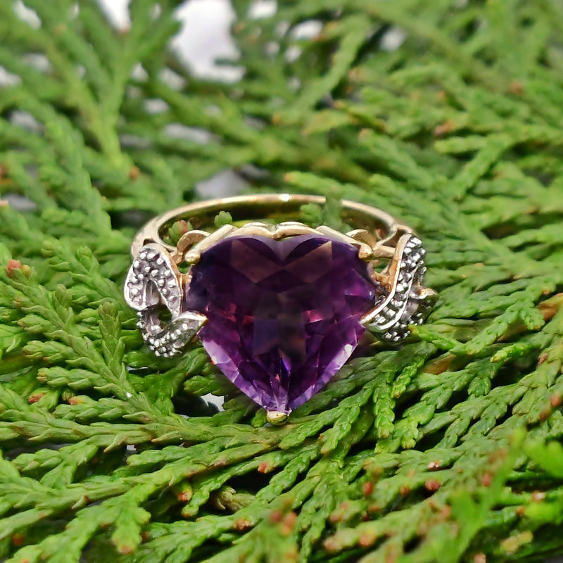 10k Yellow Gold Estate Swirl Purple Topaz & Diamond Heart Ring Size 6
