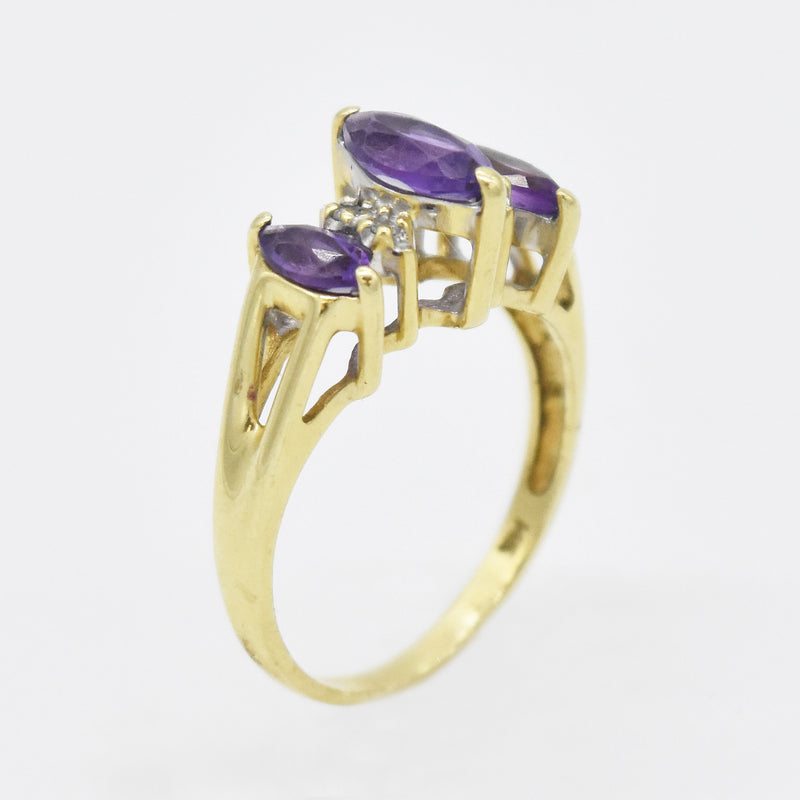 14k Yellow Gold Estate Amethyst & Diamond Tier Ring Size 6.75
