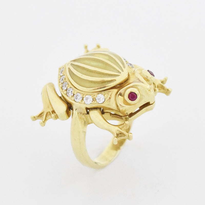 14k YG Estate White Gemstone, Ruby & Opal Articulated Frog Ring Size 7