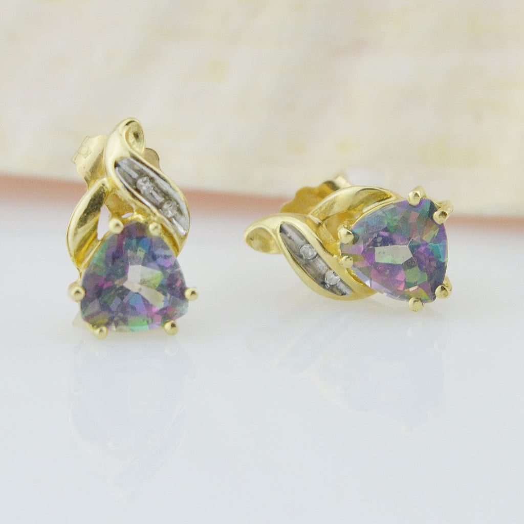 10k Yellow Gold Estate Mystic Topaz & Diamond Post Earrings