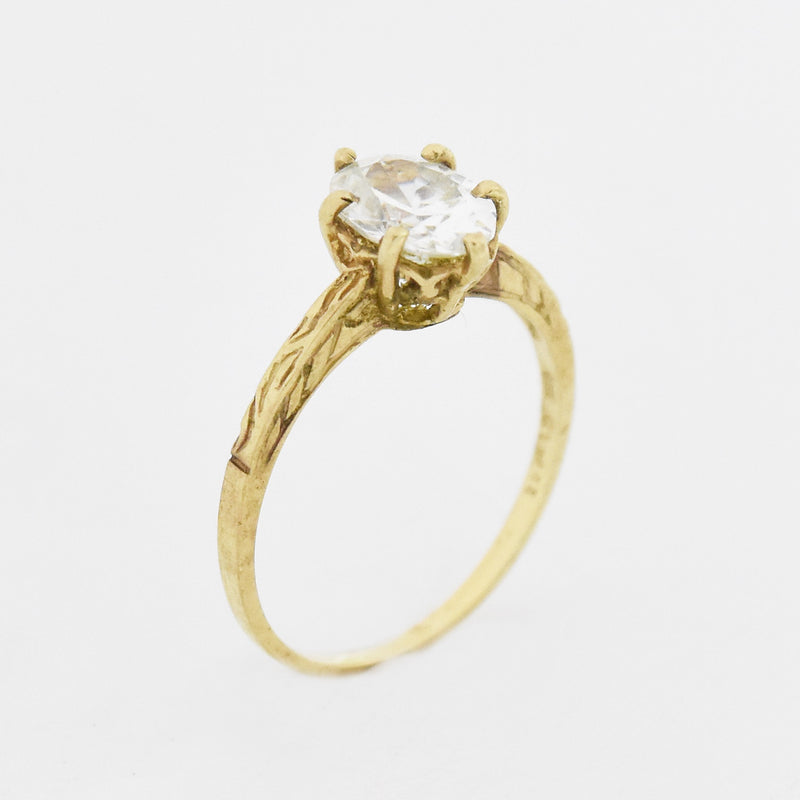 10k Yellow Gold Estate Carved CZ Engagement Ring Size 8