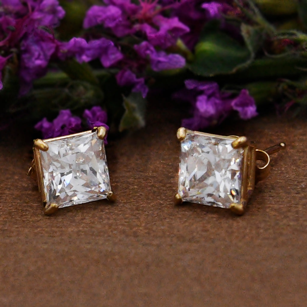 14k Yellow Gold Estate Square CZ Gemstone Post Earrings