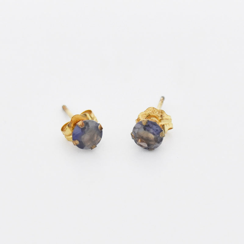 10k Yellow Gold Estate Iolite Post Earrings