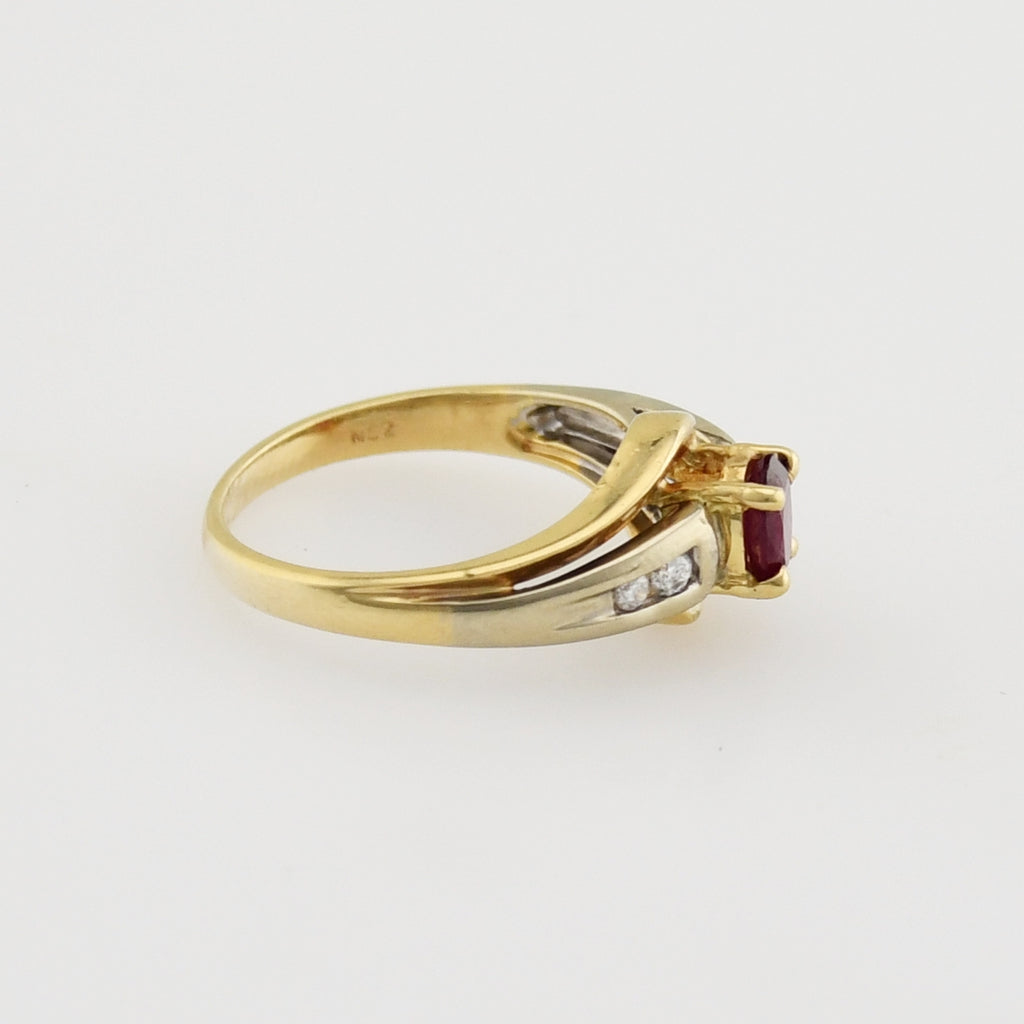 14k Yellow Gold Estate Ruby & Diamond Multistone Ring Size 6.75