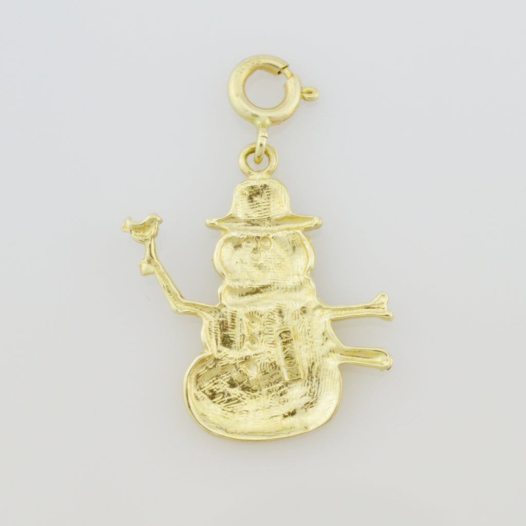 14k Yellow Gold Estate Winter Frosty The Snowman Charm/Pendant