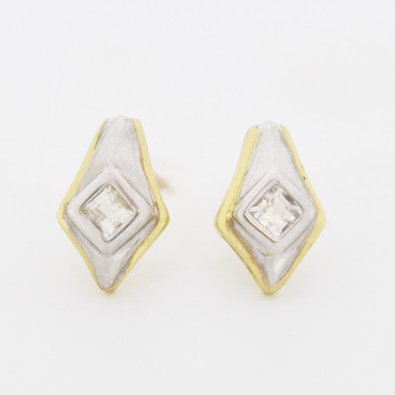 10k Yellow Gold Estate White Topaz Post Earrings