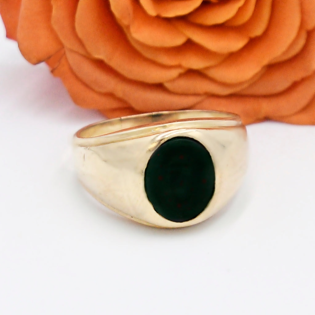 14k Yellow Gold Antique Bloodstone Ring Size 10.5