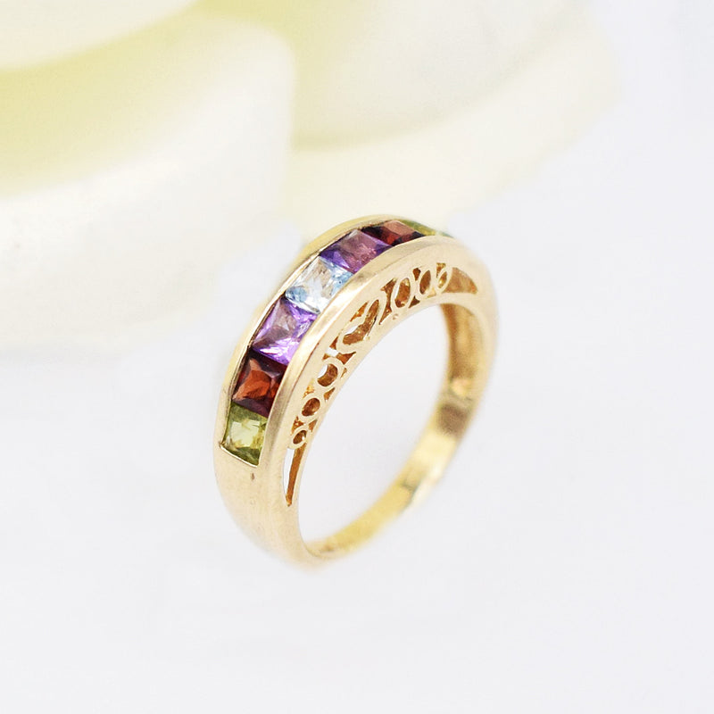 14k YG Multi-Colored Gemstone Filigree Band/Ring Size 5
