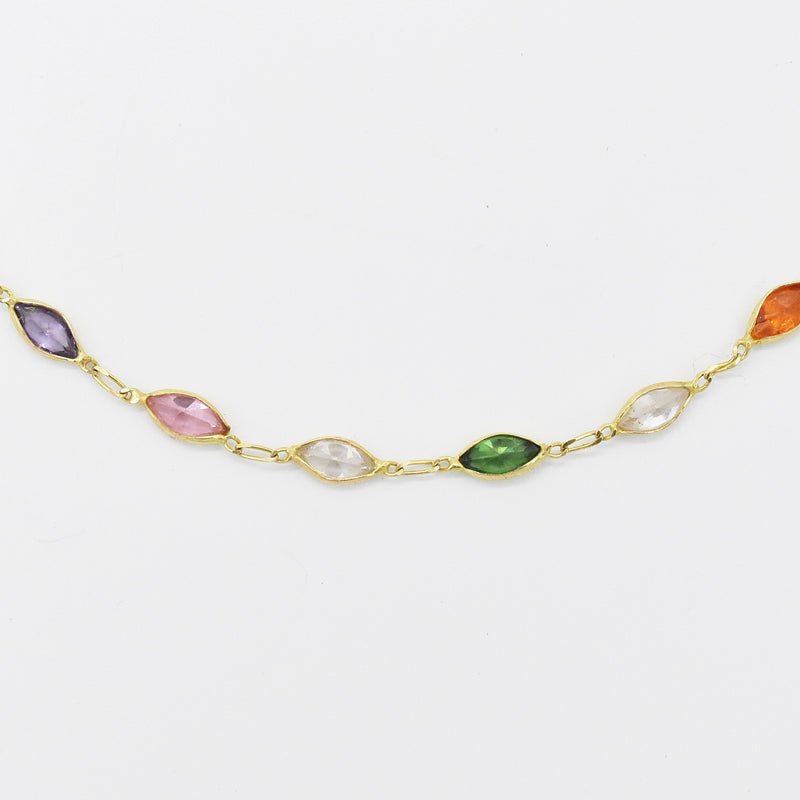 "14k Yellow Gold Estate Multi Colored Gemstone 10""Bracelet"
