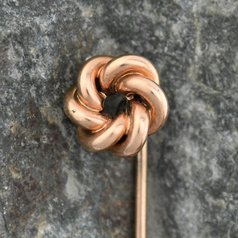 10k Yellow Gold Antique Twisted Spiral Stick Pin