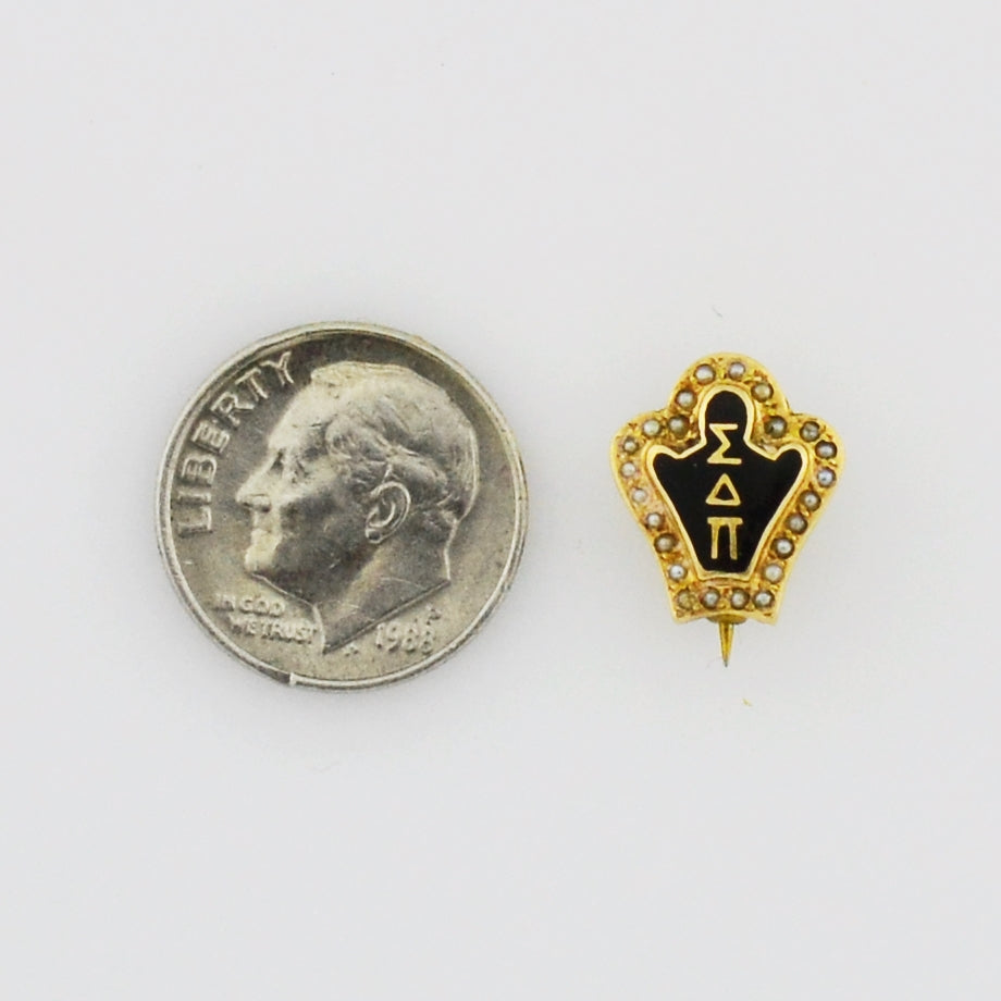 14k Yellow Gold Vintage Pearl Fraternity Sigma Delta Pi Pin Badge/Pin