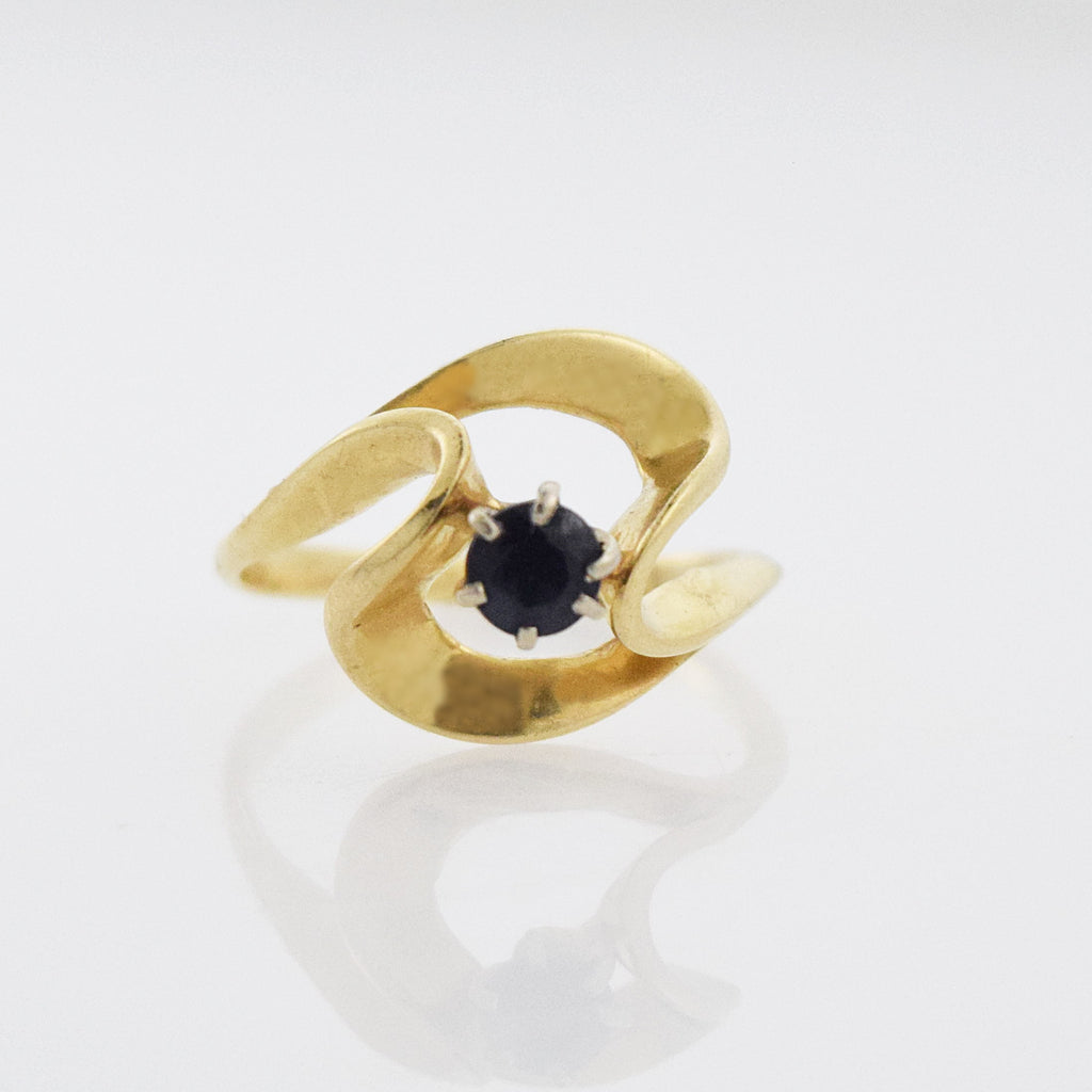14k Yellow Gold Estate Open Swirl Sapphire Ring Size 6