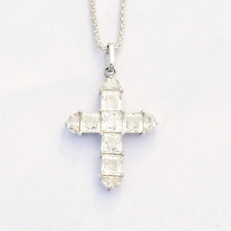 Sterling Silver 925 Estate CZ Gem Popcorn Link Cross Necklace 20 1/4""