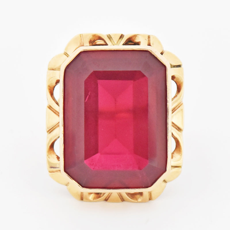 14k Rose Gold Antique Open Work Large Ruby Cocktail Ring Size 7.75