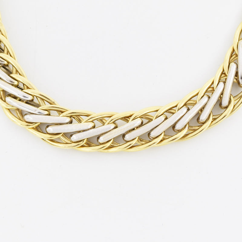 "14k Yellow & White Gold Estate 7.5"" Wheat Link Bracelet"