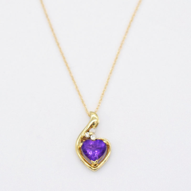 "14k Yellow Gold Estate 18"" Amethyst Heart & Diamond Necklace"