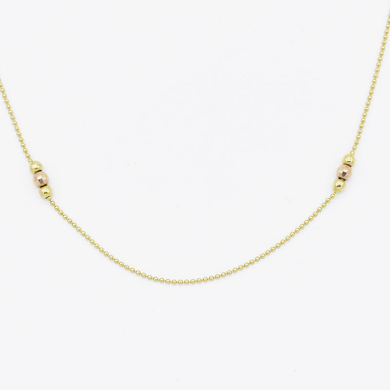 "14k Yellow & Rose Gold Estate 26"" Bead/Ball Necklace"