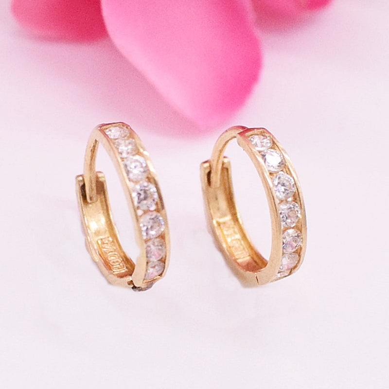 14k YG CZ Huggie Earrings