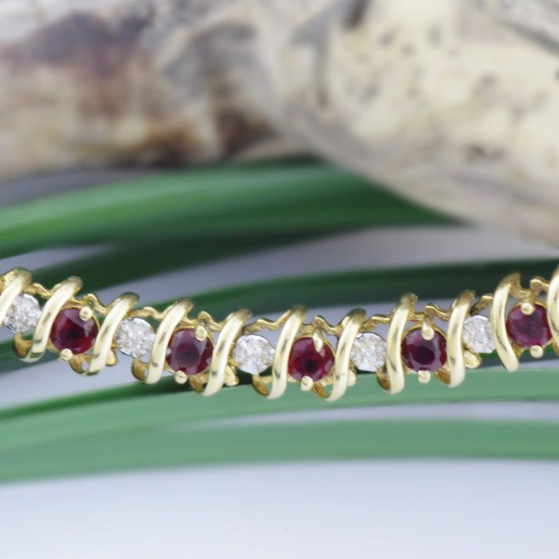 "10k Yellow Gold Estate Red Topaz & Diamond Tennis Bracelet 7.25"" Long"