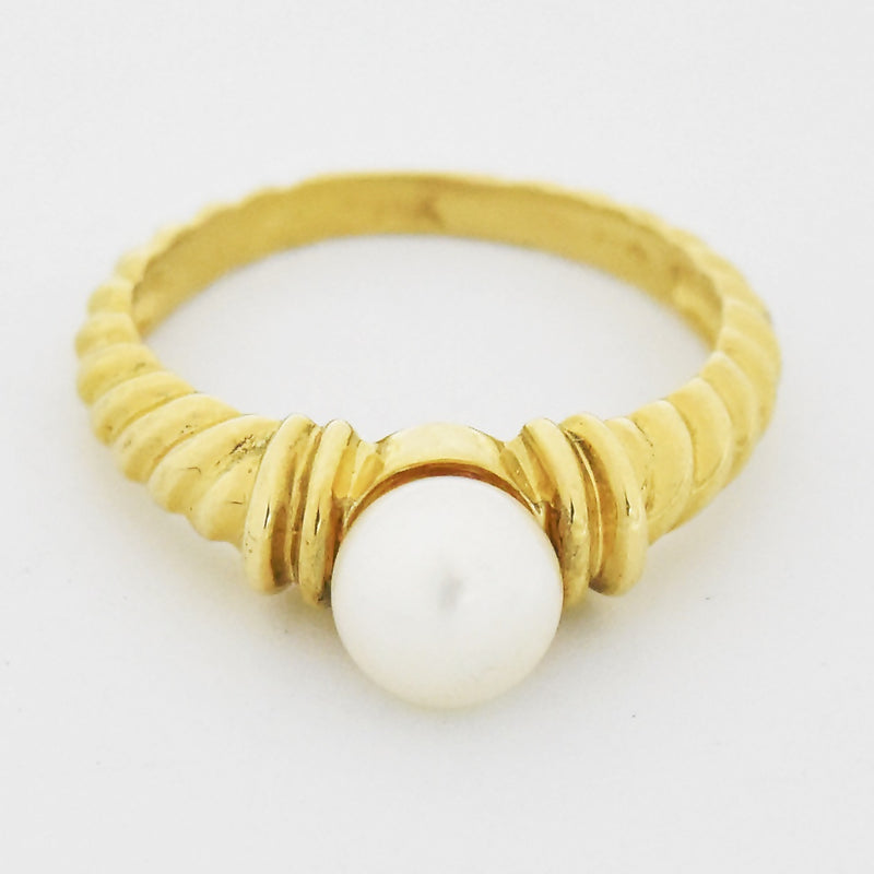 14k Yellow Gold Estate Textured Pearl Ring Size 7.5