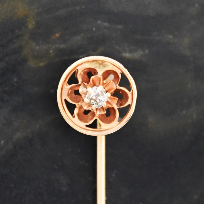 10k Yellow Gold Vintage Filigree Diamond Stick Pin