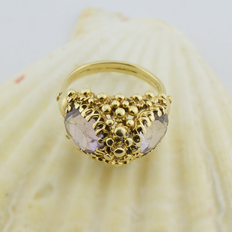 14k Yellow Gold Estate Textured Amethyst Multistone Ring Size 6.75