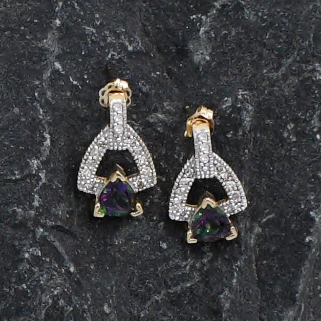 14k Yellow Gold Mystic Topaz & Diamond .12 tcw Dangle/Drop Earrings