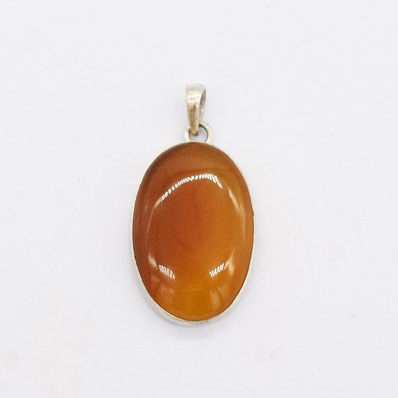"Sterling Silver 925 Estate Brown Opalescent 1 3/4"" Oval Pendant"