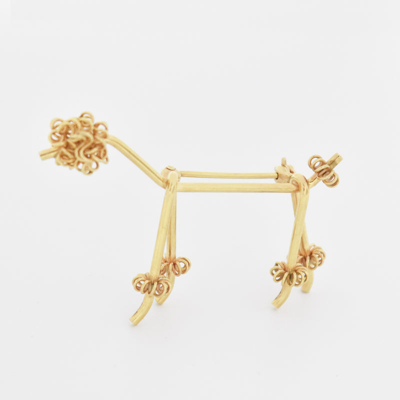 14k Yellow Gold Estate Modern Style Poodle Dog Animal Pin/Brooch