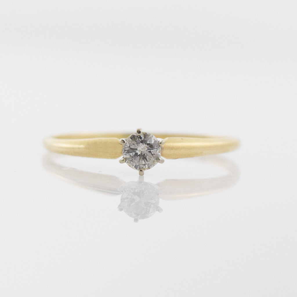 14k Yellow Gold Estate Diamond Engagement .56 tcw Ring Size 10.5