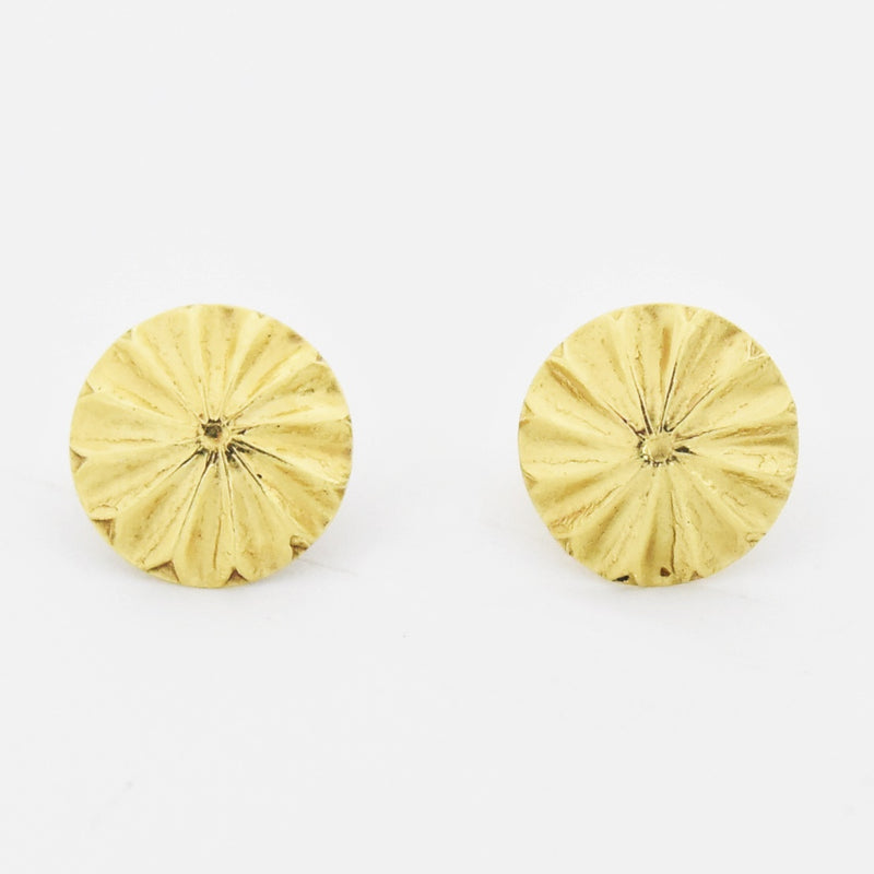 14k Yellow Gold Estate Flower Shape Post Earrings