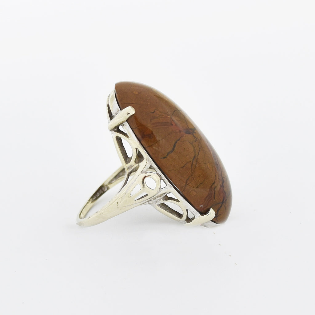 14k White Gold Open Work Oval Cabochon Brown Jasper Ring Size 6