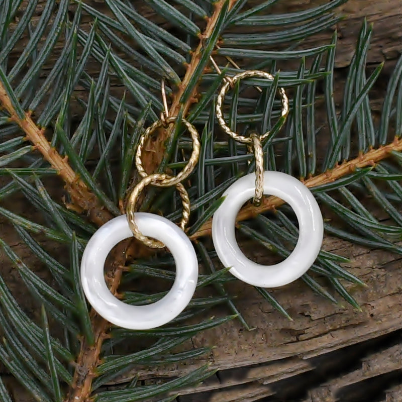 10k Yellow Gold Estate White Jade Circle Drop/Dangle Earrings