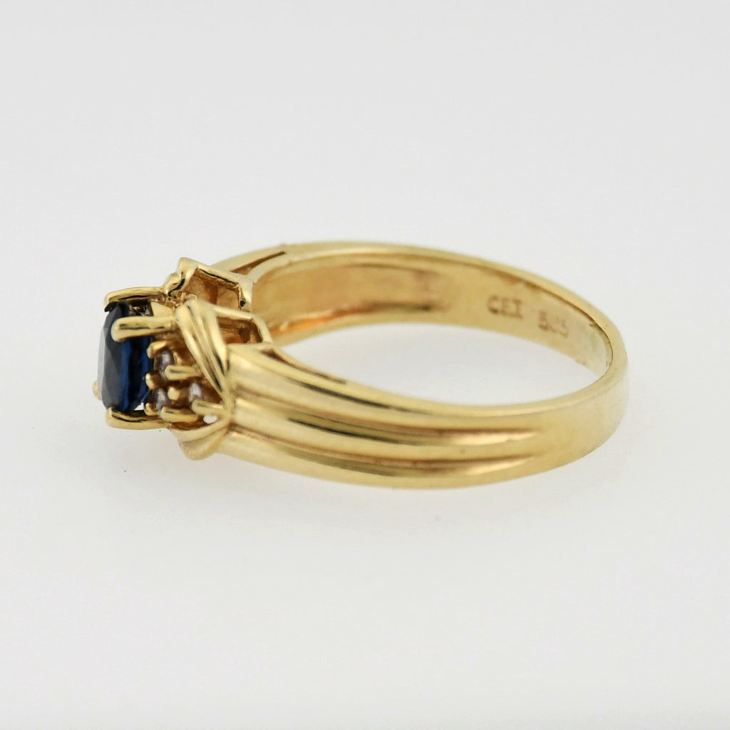 14k Yellow Gold Estate Ribbed Band Sapphire & Diamond Ring Size 4.25