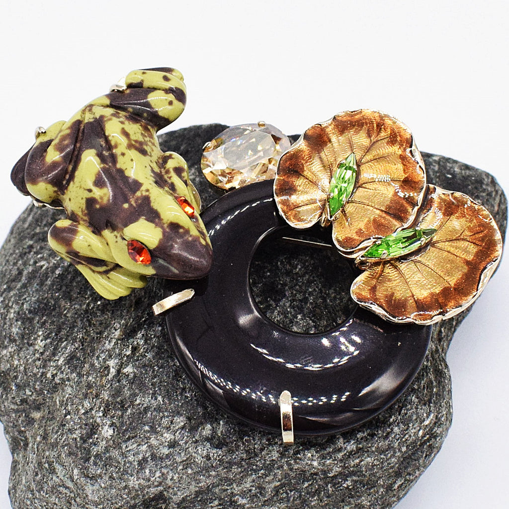 Metal Philippe Ferrandia Frog & Lily Pad Brooch