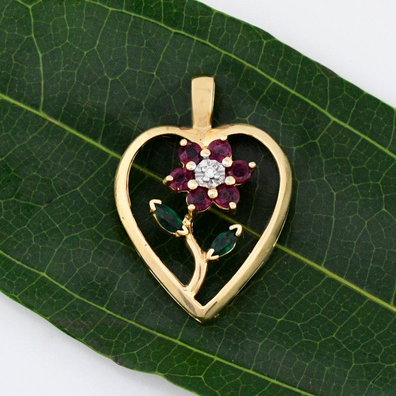 14k Yellow Gold Open Ruby Diamond & Emerald Heart Pendant