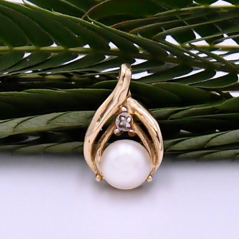 14k Yellow Gold Estate Wish Bone Pearl & Diamond Pendant