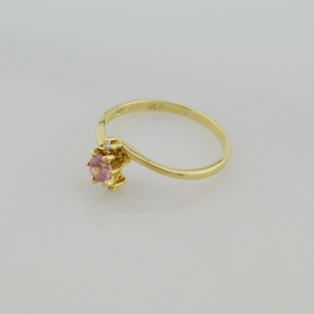 14k Yellow Gold Estate Pink Amethyst & Diamond Multistone Ring Size 7.5