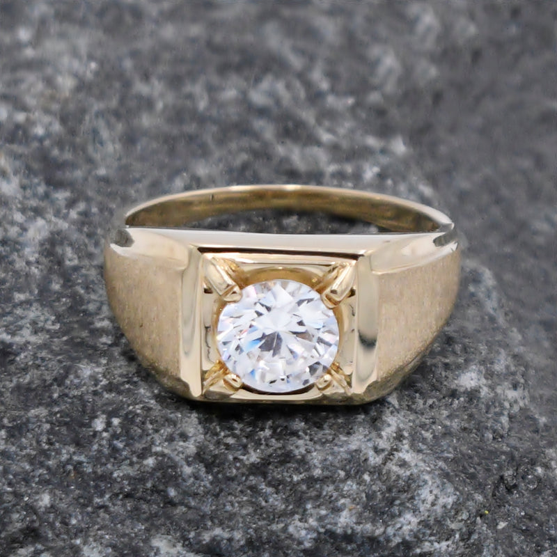 10k Yellow Gold Estate Textured CZ Solitaire Ring Size 12
