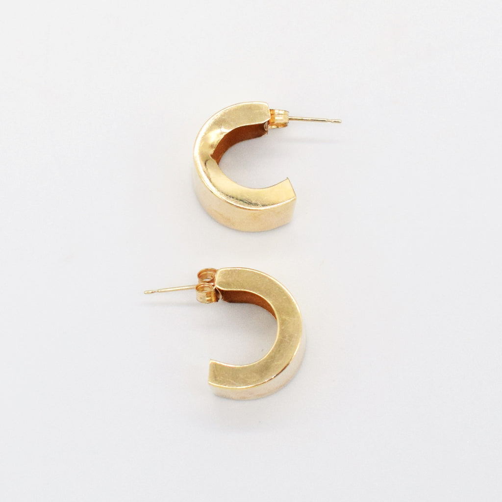 14k Yellow Gold Estate Wide Half Hoop Post Earring