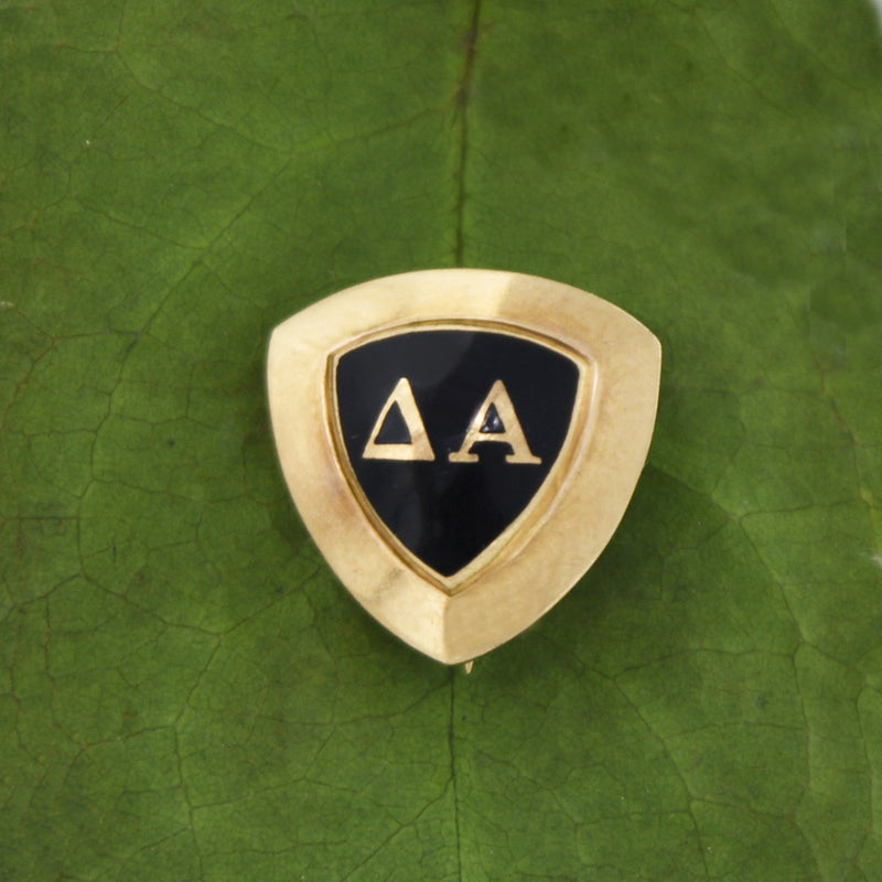 10k Yellow Gold Antique Enamel Delta Alpha Pin