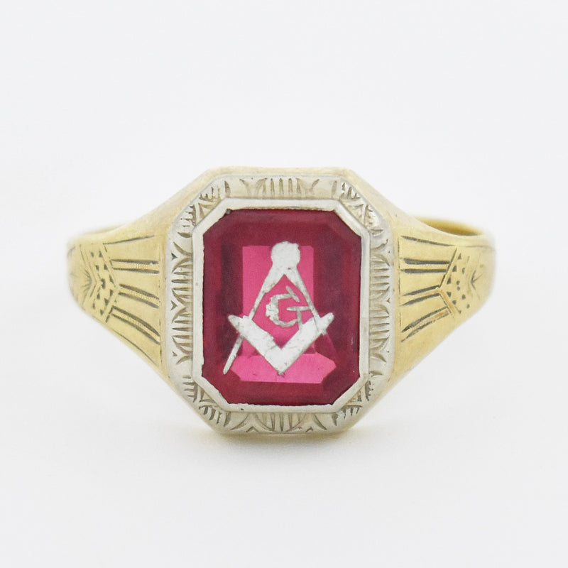 10k White Gold Vintage Ruby Masonic Ring Size 11.75